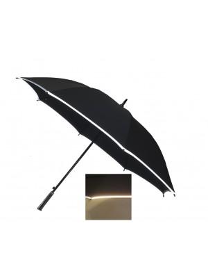 Automatic Windproof Golf Umbrella with8 fiberglass ribs, carbon fiber shaft and reflective edge