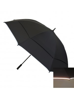 "172cm (68"") Automatic Double Canopy Windproof Golf Umbrella with inner net and reflective edge"